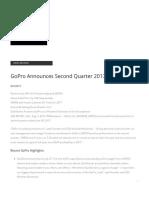 GoPro Announces Second Quarter 2017 Results