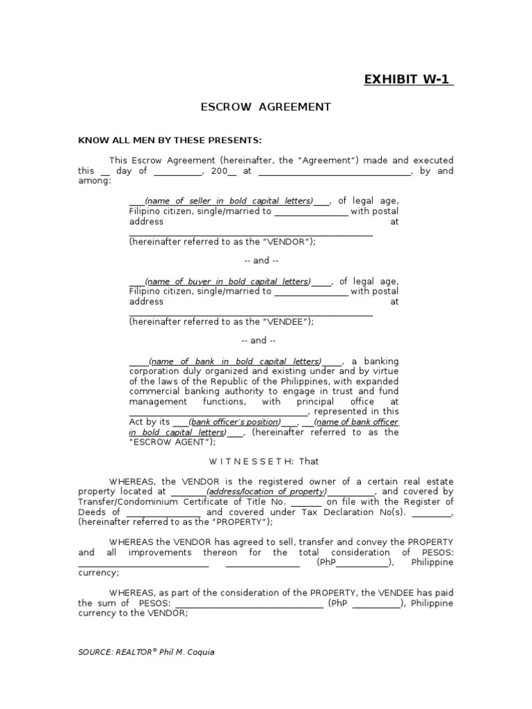 Exibit W 1 Escrow Agreement Law Of Agency Deed