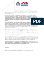 Young Americans for Freedom Letter