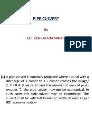 Pipe Culvert ppt | Pipe (Fluid Conveyance) | Concrete