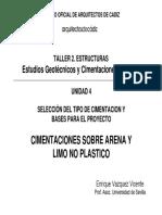 Taller Práctico. Cimentación Sobre Arena y Limo No Plástico