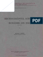 Recensămîntul Agricol Al României Din 1941. Volumul I Date Provizorii