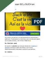 Cómo se usan SO y SUCH en inglés - Aprende Inglés Sila 2