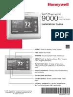 Honeywell Wi-Fi 9000 Touchscreen Thermostat Installation Manual