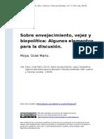 Moya, Ociel Mario (2013). Sobre Envejecimiento, Vejez y Biopolitica Algunos Elementos Para La Discusion