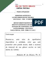 Pedro Apolinário - História Do Texto Bíblico