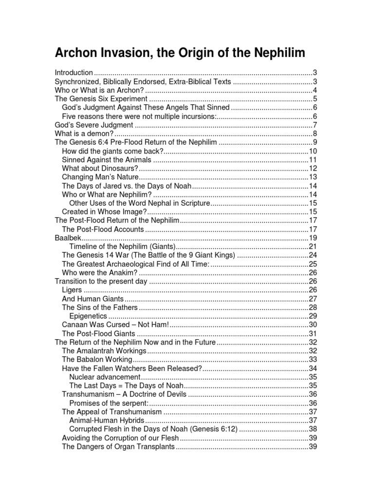 Archon Invasion, the Origin of the Nephilim pdf | Nephilim
