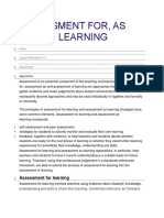 Assessment For, of, as Learning