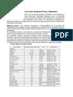 Estimaciones de Costo de Materia Prima y Materiales