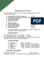 Cuotas Ciclo 2015-2016