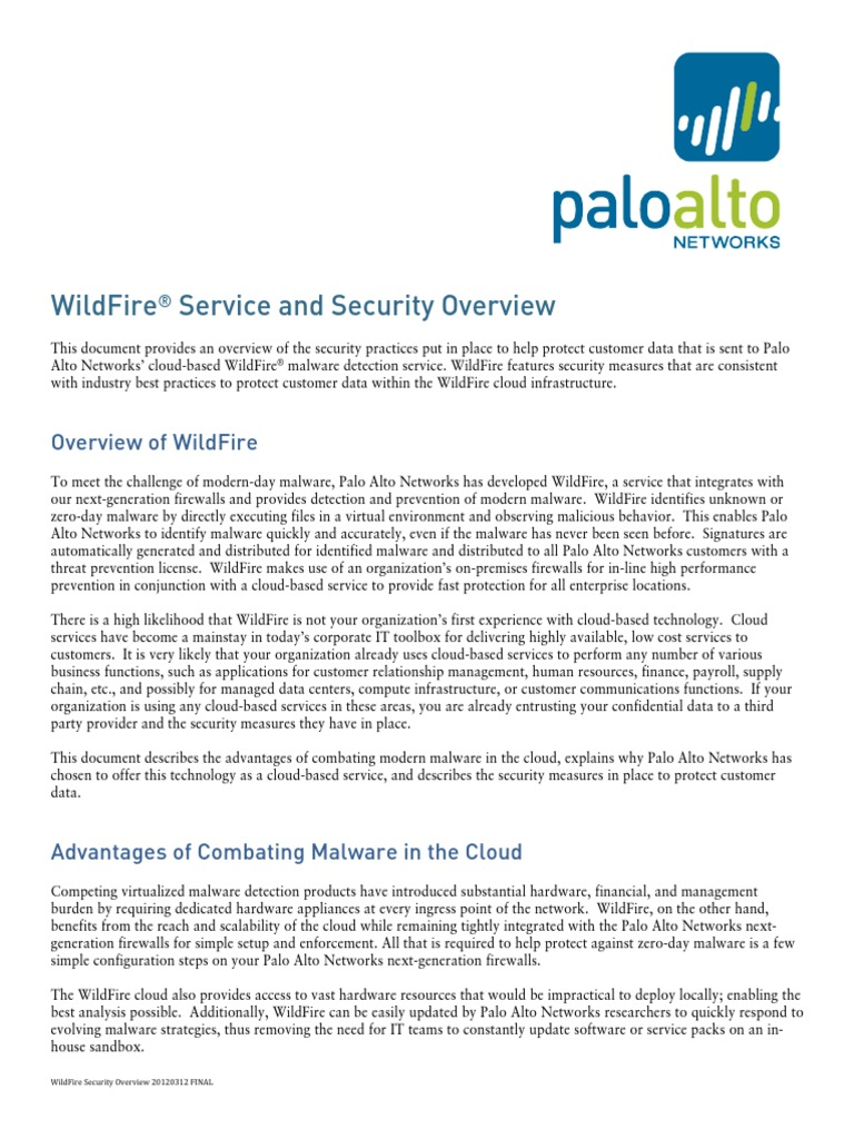 WildFire Security Overview 20140623 FINAL | Cloud Computing