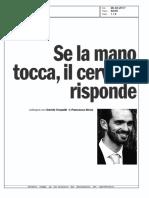"""Se la mano tocca, il cervello risponde, """"L'Espresso"""", 26-02-17"""