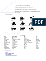 Means of Transport Vocabulary
