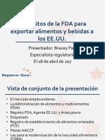 Webinario - Requisitos de La FDA Para Exportar a Los EE.uu. - 4.17.2017