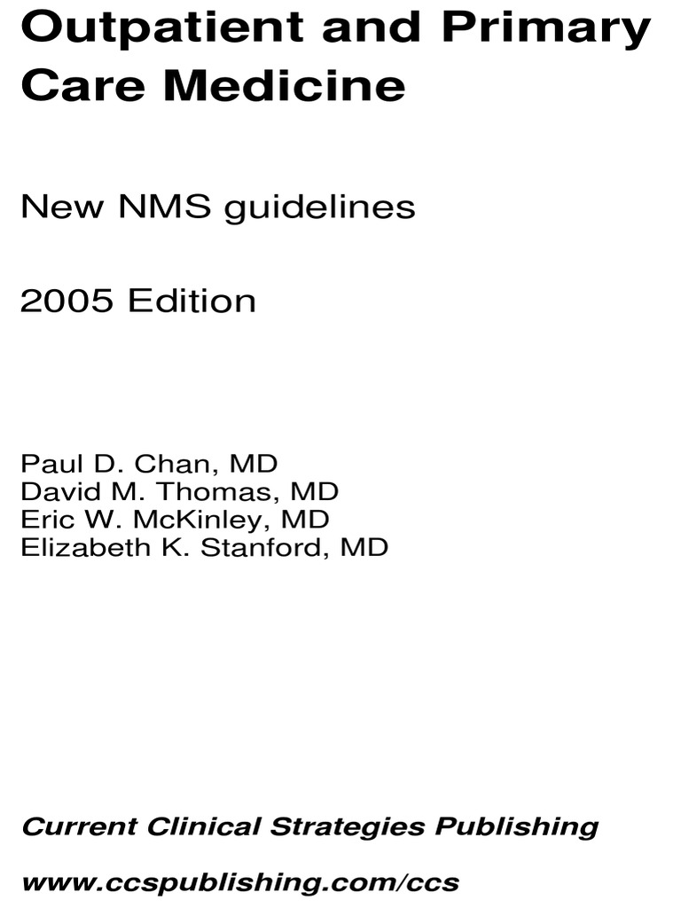 Current Clinical Strategies Outpatient And Primary Care Medicine