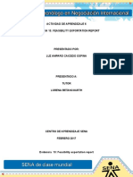ACTIVIDAD de APRENDIZAJE 6 Evidencia 13 Feasibility Exportation Report Desarrollo