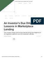Market Place Lending Due Diligence