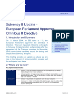 Clifford Chance Briefing Solvency II Update European Parliament Approves Omnibus II Directive 6021592