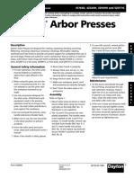 Dayton Arbor Presses Owners Manual