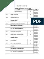 Teaching Schemes Form 2, Sem 1