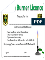 Bunsen Burner Licence