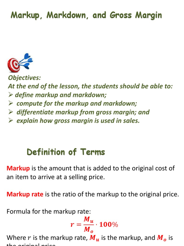 mark up, markdown gross margin (1) | gross margin | prices