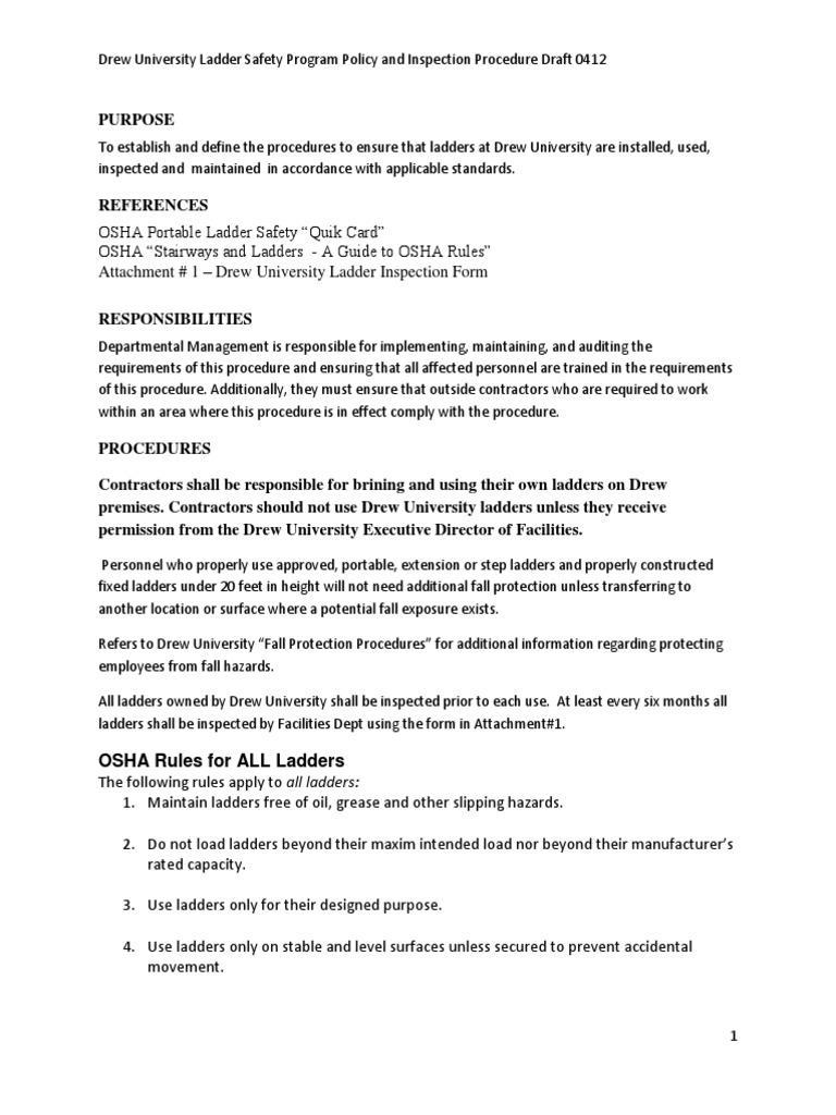 Ladder Inspection Form Osha - Best Ladder 2018