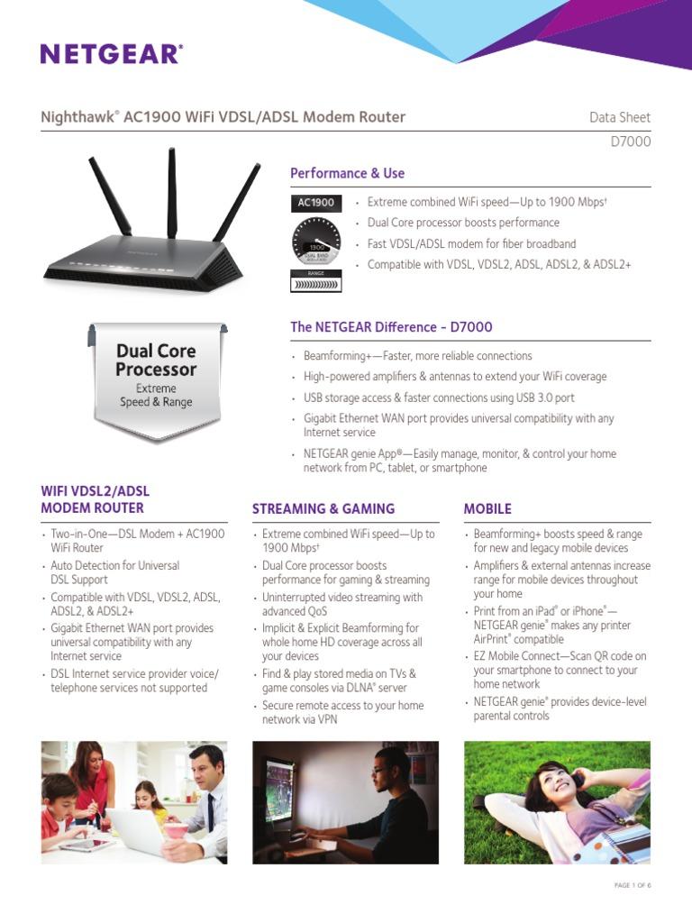 Netgear D7000 Nighthawk AC1900 WiFi VDSL/ADSL Modem Router Datasheet
