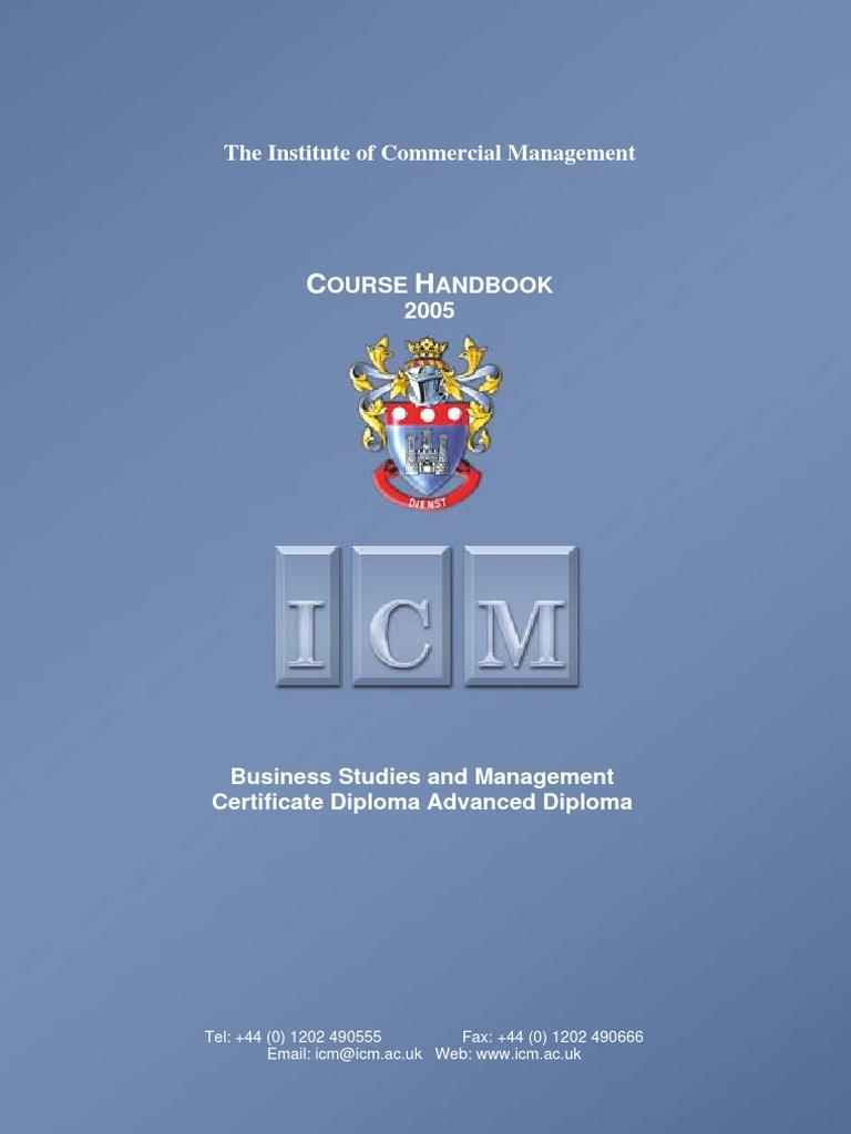 Icm handbook business studies diploma postgraduate education fandeluxe Images