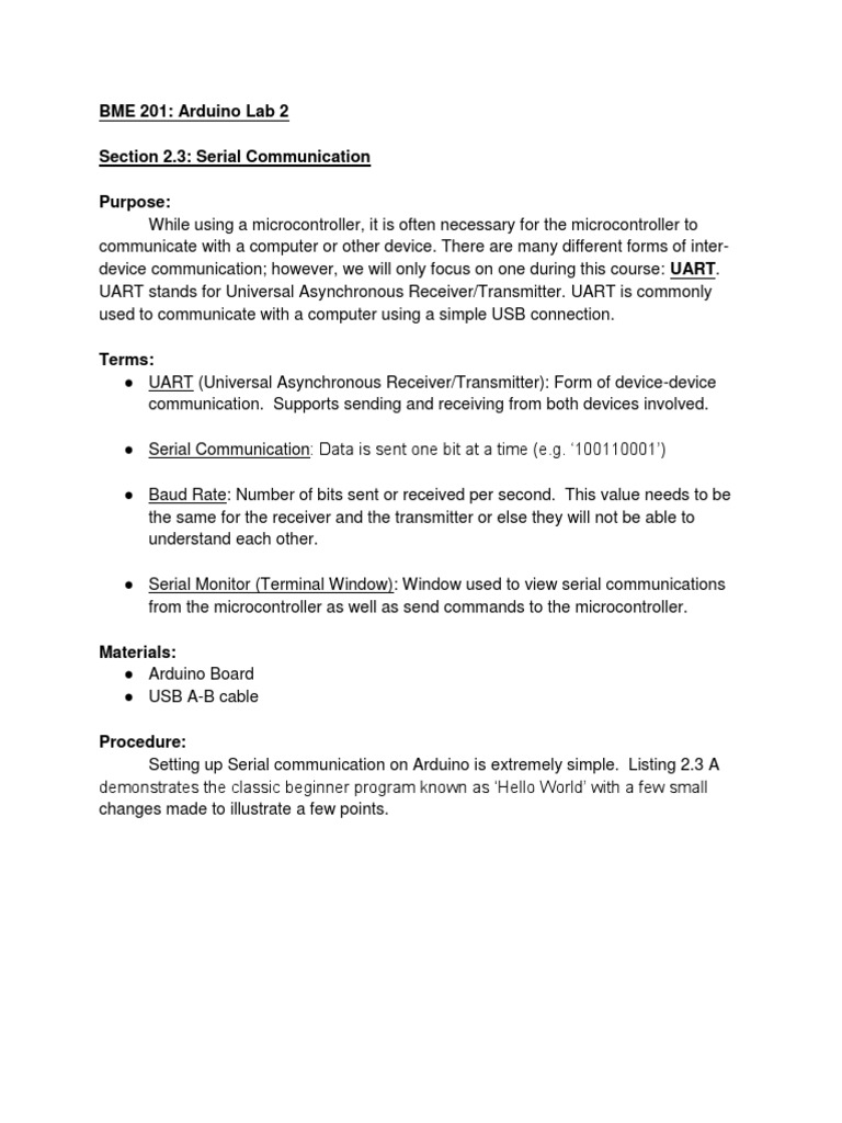 Arduino LAB 2 Serial Communication | Analog To Digital Converter