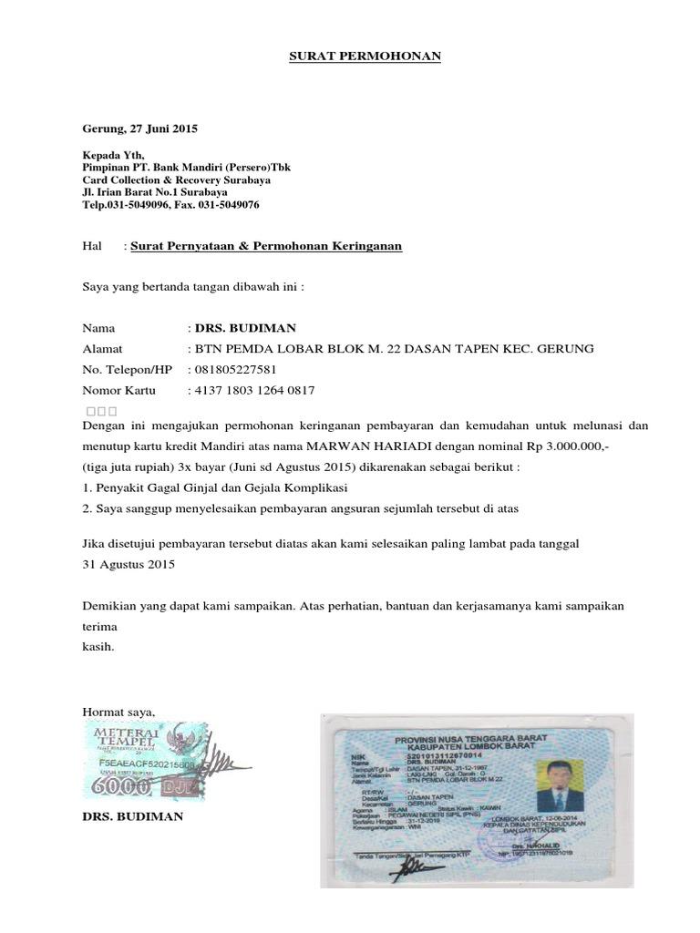 Surat Permohonan Keringanan Pembayaran | Contoh surat ...