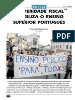 """""""Austeridade fiscal"""" fragiliza o ensino superior português"""