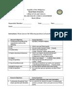 Questionnaire Non-Pharma pain mgt