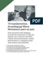 19 Mandamentos Maria Montessori