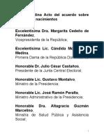 Discurso del presidente Danilo Medina en acto firma de Acuerdo de Cooperación Interinstitucional para Registro Oportuno y Tardío de Nacimientos en RD