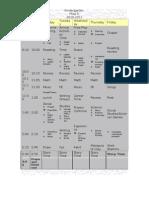 Class Schedule 2010-2011