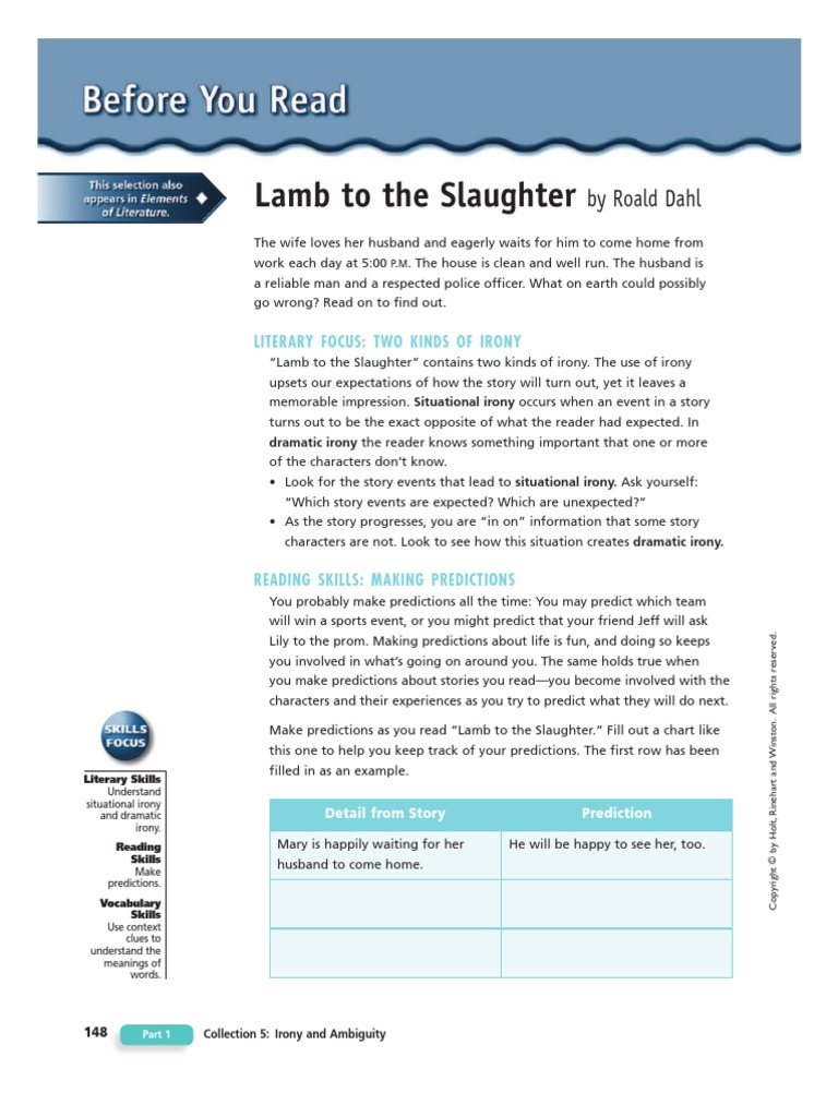 examples of irony in lamb to the slaughter