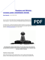 Nikola Tesla the Russians and Witricity Wireless Power Transmission Revived