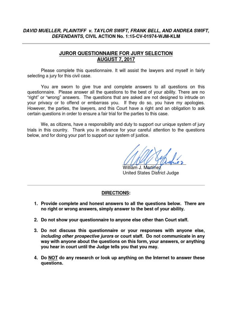Juror questionnaire for the Taylor Swift trial | Race And