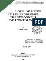 Andre Doz La Logique de Hegel Et Les Problemes Traditionnels de l'Ontologie
