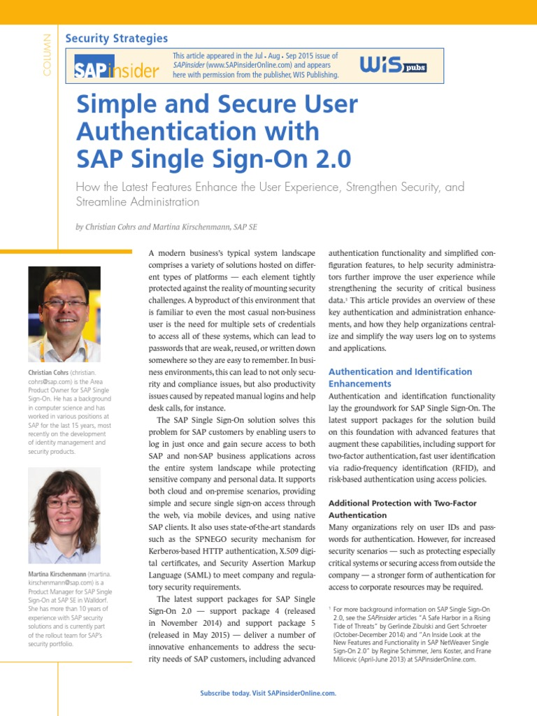SAP Insider - Simple and Secure User Authentication With SAP