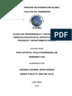 PLANTA DE TRANSFERENCIA Y TRATAMIENTO DE RESIDUOS SOLIDOS EN EL DISTRITO DE COMAS