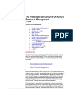 The Historical Background of Human Resource Management