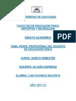 Perfil profesional del docente de educacion fisica en el Ecuador