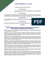 Reglamento Para El Control, Distribución y Enta de Reglament