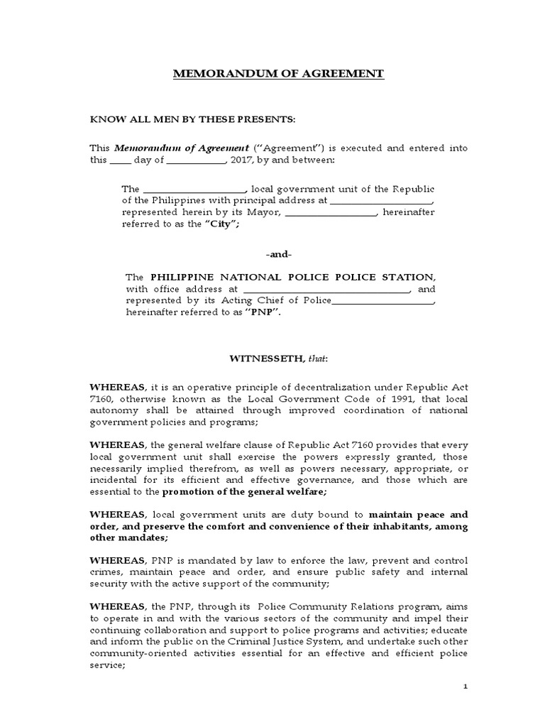 Sample Memorandum Of Agreement Local Government Police