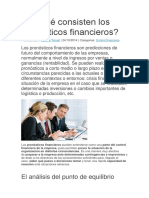 En Qué Consisten Los Pronósticos Financieros