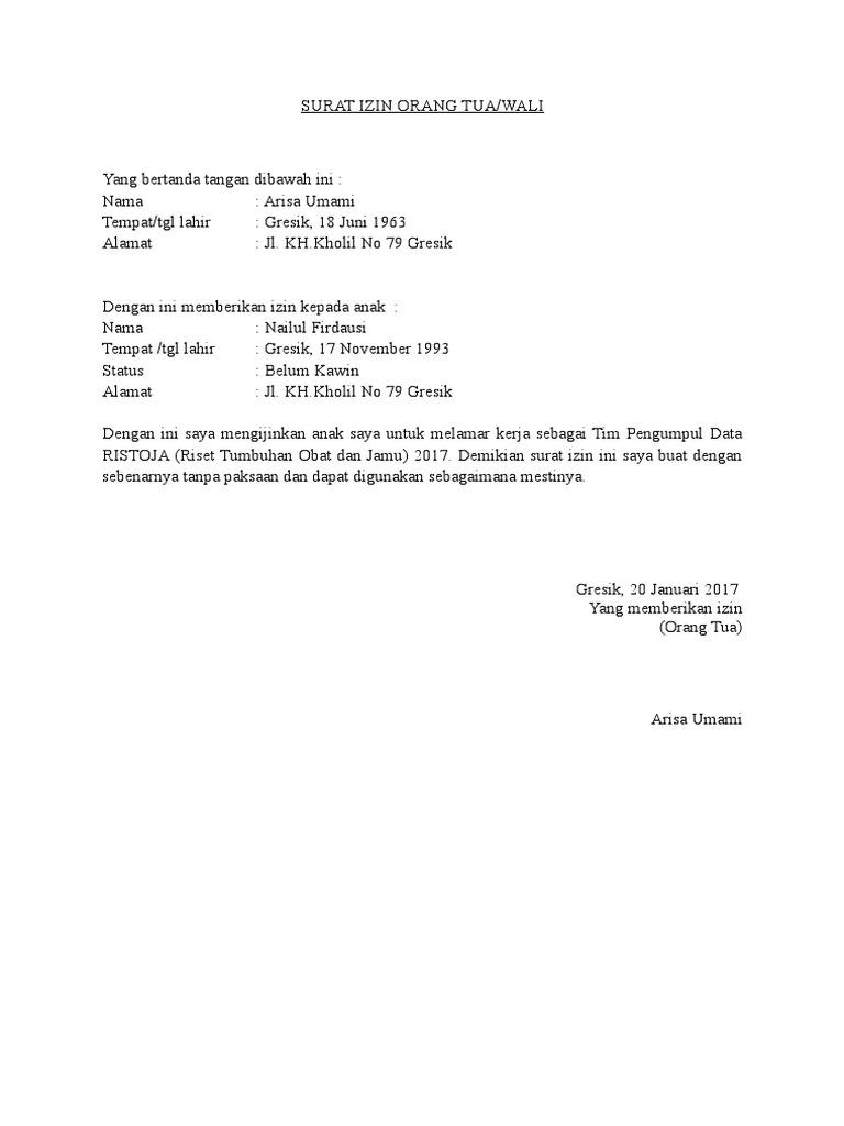 Surat Izin Suami Orang Tua Wali