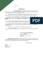 Affidavit of Claimant