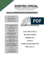 Registro Oficial No. 305 Ley Orgánica de Recursos Hídricos, Usos y Aprovechamiento Del Agua